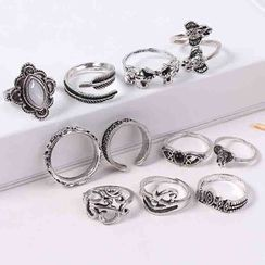 Bling Thing(ブリングシング) - Set of 11: Retro Alloy Open Ring (assorted designs)