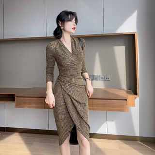 ZY·HT - V-Neck Long-Sleeve Midi Sheath Dress