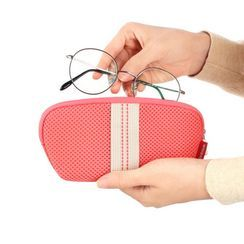 BABOSARANG - Zipped Contrast-Trim Mesh Glasses Pouch