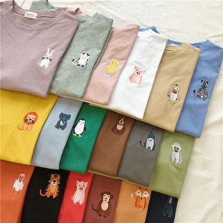 Oolun - Short-Sleeve Animal Embroidered T-Shirt