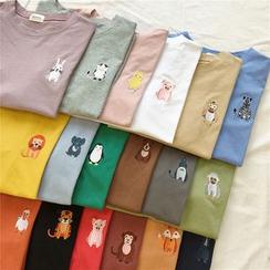 Oolun - Camiseta de manga corta con bordado de animal