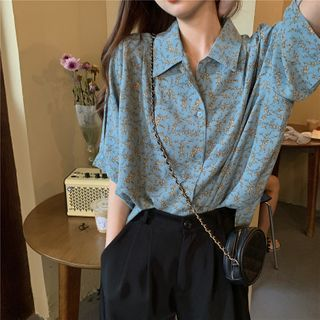 Allizzwell - Floral Printed Loose-Fit Short-Sleeve Shirt