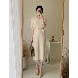Dali hotel - V-Neck Long Knit Dress