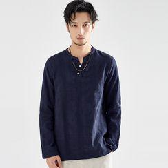 Ashen - Split-Neck Long-Sleeve T-Shirt