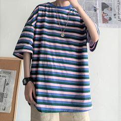 Deepwood - Elbow-Sleeve Striped T-Shirt