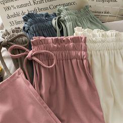 Lemongrass - Paperbag High-Waist Wide-Leg Pants in 8 Colors