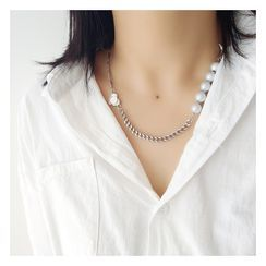 Mimishi - Faux Pearl Alloy Necklace