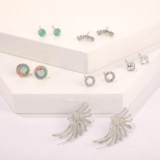 Yongge - 6-pair Set: Rhinestone Alloy Earring (assorted designs)