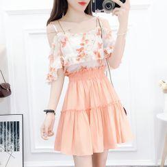 Petit Lace - 套裝: 碎花短袖上衣 + A字裙