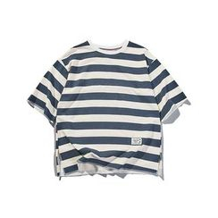 Hansler - Elbow-Sleeve Striped T-Shirt