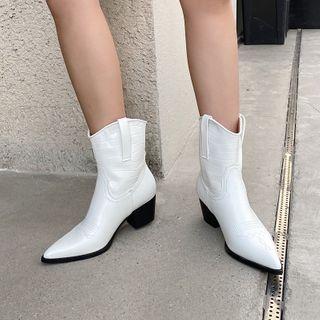 Niuna - Block-Heel Pointed Short Cowboy Boots