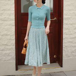 Daffie - High-Waist Floral Chiffon Pleated Skirt