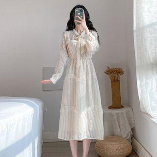 Onjo - Long-Sleeve Tie-Neck Midi A-Line Lace Dress
