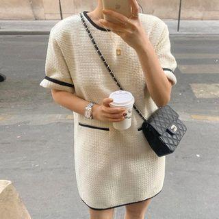 Muzly - Short-Sleeve Contrast-Lining Tweed Mini Dress