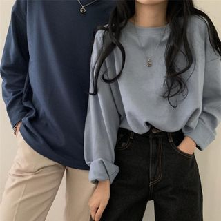 Slowmak - Couple Matching Long-Sleeve Plain T-Shirt