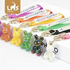 Coomui - Acrylic Rabbit Chinese Characters Hand Strap Keyring
