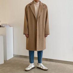 Seoul Homme - Notch-Lapel Single-Breasted Coat