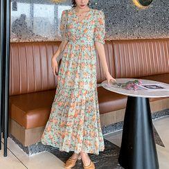 Kimrum - Short-Sleeve Floral Print Maxi Dress