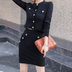 ISMY - 套裝: 長袖飾扣針織上衣 + 修身迷你裙