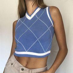 BrickBlack - Cropped Argyle Knit Vest (Various Designs)