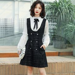 Romantica - 假两件长袖粗花呢连衣裙