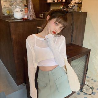 Newkoou - See-Through Knit Crop Top