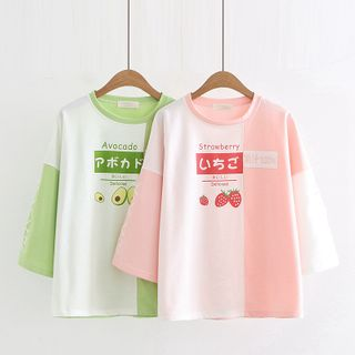 Cat Planet - Fruit Print Two-Tone 3/4-Sleeve T-Shirt