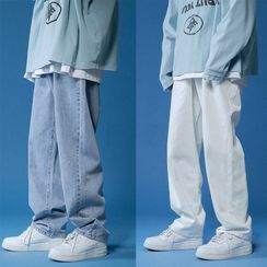 JUN.LEE - Washed Straight Leg Jeans