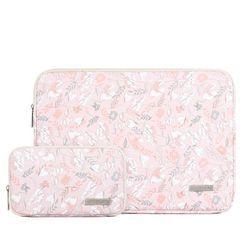 Arktiscun - Set: Floral Print Laptop Case + Pouch