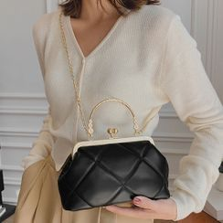 NewTown - Twist Lock Faux Leather Hand Bag