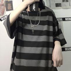 AXEN - Couple Matching Elbow-Sleeve Striped T-Shirt