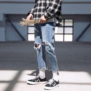MIKAEL - 做旧直筒九分牛仔裤