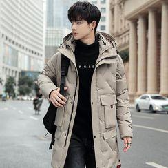 KOKAY - 纯色连帽夹层大衣
