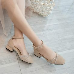 Freesia - 低跟水钻踝带凉鞋