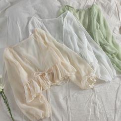 Chitpo - Balloon-Sleeve Tie-Front Chiffon Jacket
