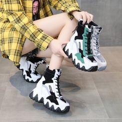 Sleeko - 拼接內增高高幫休閒鞋