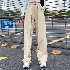 WEEKEND BLOOPERS - Two-Tone Panel High-Waist Straight-Cut Pants