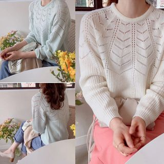 LEELIN - Round-Neck Perforated Knit Top