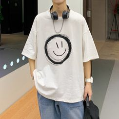 SuperLittle - Couple Matching Elbow-Sleeve Smiley Face T-Shirt
