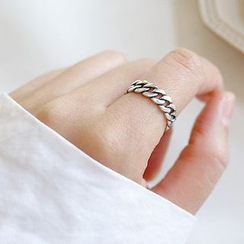 Phoenoa - 925 Sterling Silver Chained Open Ring