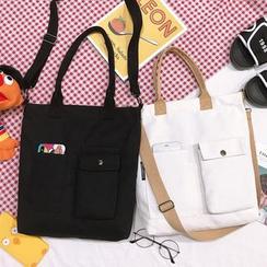 ANEMOI - Two-Way Pocket Detail Canvas Tote Bag