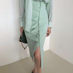 DABAGIRL - Button-Through Pencil Skirt