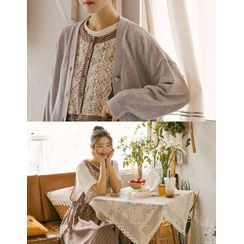 GOROKE - Lace-Panel Drawstring-Waist Gingham Apron Dress