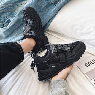 TATALON - Mesh Panel Buckled Lace-Up Athletic Sneakers