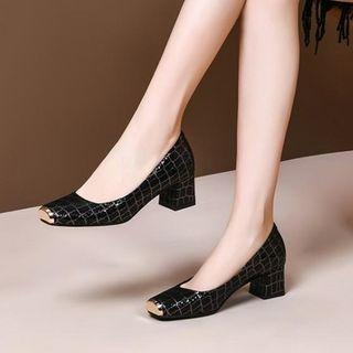 锦洋鞋业 - 真皮漆皮粗跟鞋