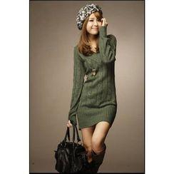Hilsah - Long-Sleeve Cable Knit Mini Dress