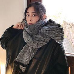 SOCOOL - 流苏插色抓毛围巾