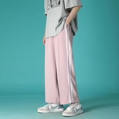 Breeson - Contrast Striped Wide Leg Pants