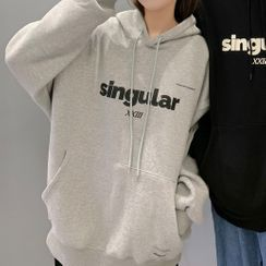 Ink Brush - Couple Matching Lettering Loose-Fit Hoodie