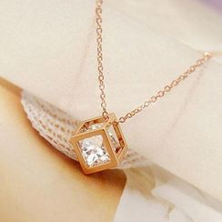Alycia - Rhinestone Cube Necklace
